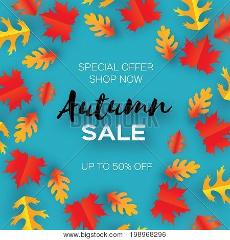 Autumn Sale Paper Cut leaves. September flyer template. Space for text. Origami Foliage. Oak. Circle Fall leaf poster . Blue background. Vector illustration.