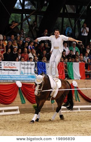KAPOSVAR, HUNGARY - AUGUST 12: Stefan Csendl (AUT) in action at the Vaulting World Championship Final on August 12, 2007 in Kaposvar, Hungary.