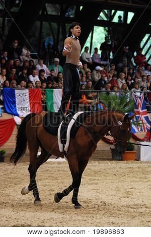 KAPOSVAR, HUNGARY - AUGUST 12: Adrian Toth (SVK) in action at the Vaulting World Championship Final on August 12, 2007 in Kaposvar, Hungary.