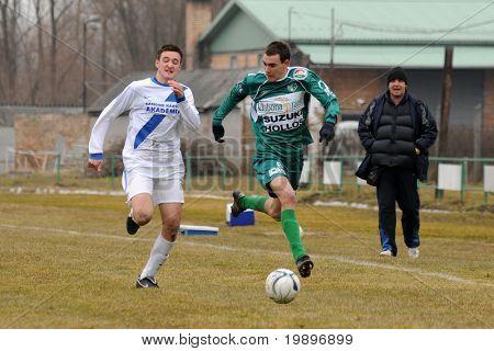 KAPOSVAR, HUNGARY - MARCH 5: Krisztian Kirchner (6) in action at the Hungarian National Championship under 19 game between Kaposvar and MTK on March 5, 2011 in Kaposvar, Hungary.