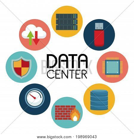 white background with text data center an icons elements around vector illustration