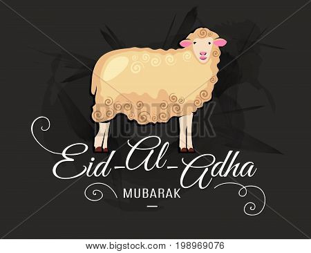 Eid-al-adha greeting card with sheep and lettering on dark grunge background. Vector illustration for muslim festival of sacrifice design