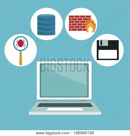 color background with computer laptop and technology elements in icons vector illustration
