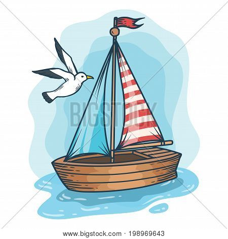 Sailboat With Gull, Hand Drawn Engraving Sketch Vector Summer Voyage Cruise Transportation Illustrat