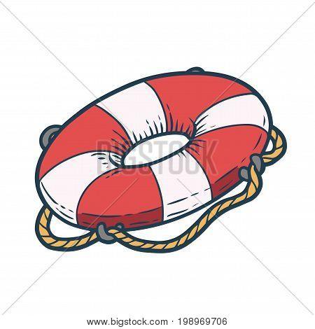 Lifebuoy Hand Drawn Sketch Vector Illustration. Summer Boat Decoration On White Background.