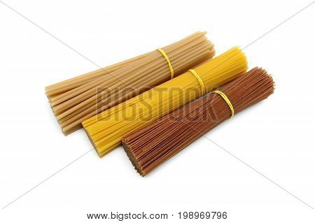 Pasta of different kinds isolated on white background. Horizontal photo.