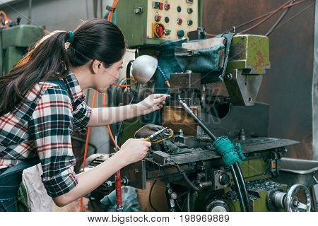 Lathe Worker Working At Milling Machine Department
