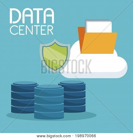 color background with cloud storage folder and computer drive data center vector illustration