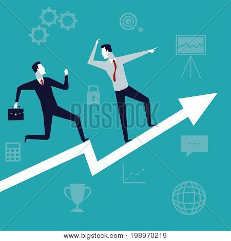 color background with executive men business growth vector illustration