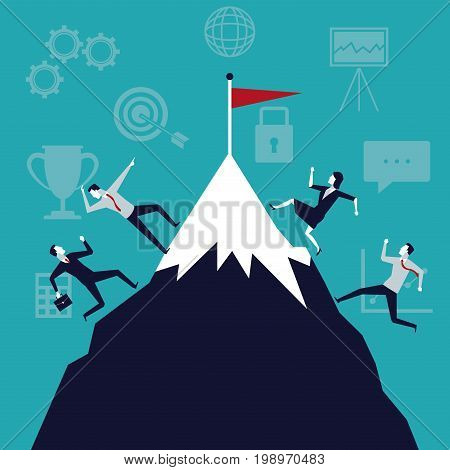 color background business growth with executives running to the top vector illustration