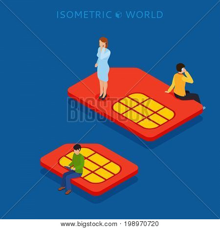 SIM card flat isometric concept web vector illustration.