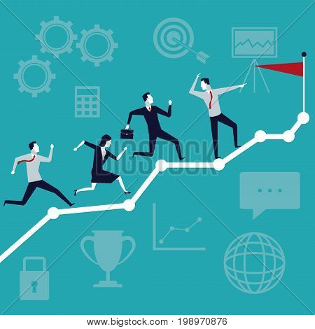 color background business growth with executive team running to top flag vector illustration