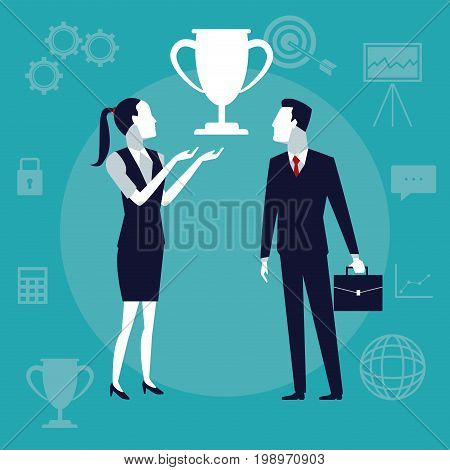 color background business growth with executive couple with symbol cup trophy vector illustration