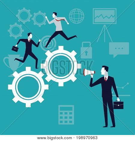 color background with executive group running in gears mechanism and businessman with megaphone vector illustration