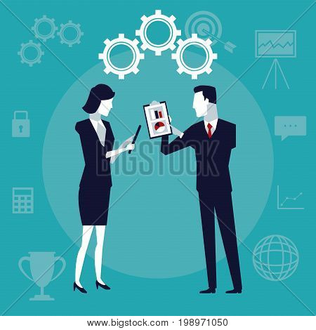color background with executive people with gears mechanism and table pad with graphics vector illustration