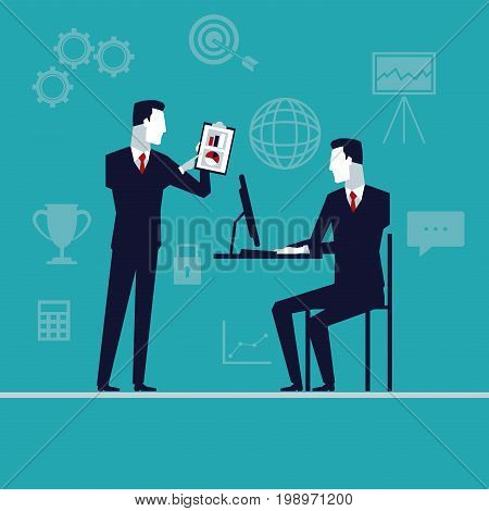 color background with executive men in presentation business growth vector illustration