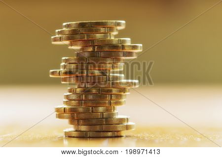 A close up of a stack euro cent
