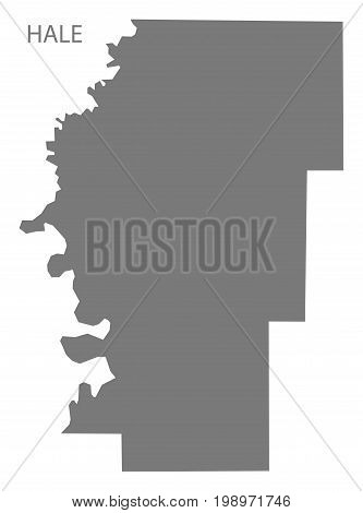 Hale County Map Of Alabama Usa Grey Illustration Silhouette