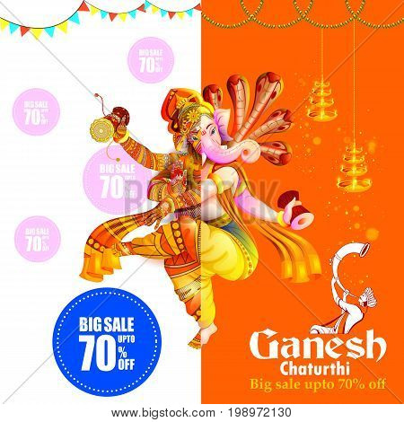 easy to edit vector illustration of Lord Ganpati on Ganesh Chaturthi background