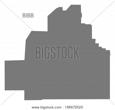 Bibb County Map Of Alabama Usa Grey Illustration Silhouette