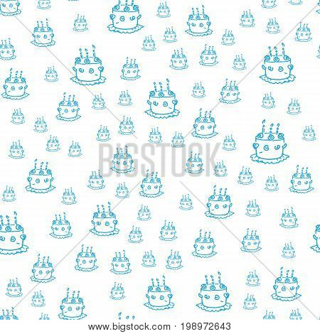 Seamless pattern with blue cakes isolated on white background. Cozy print for kids, birthday designs, wrapping paper, scrapbooking.