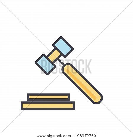 Auction, hammer, justice, law, legal, court concept. Line vector icon. Editable stroke. Flat linear illustration isolated on white background