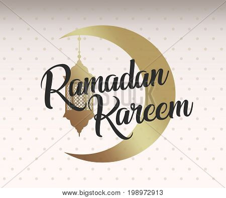 Ramadan Kareem, eid mubarak golden moon and lamp, lantern. Black lettering. Greeting card, invitation for muslim oriental community holy month on white with dots. Vector illustration