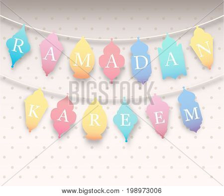 Ramadan Kareem, eid mubarak colorful pastel flags shaped lamp, lantern. Black lettering. Greeting card, invitation for muslim oriental community holy month on light. Vector illustration