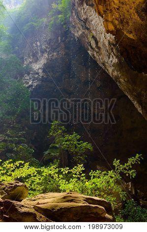 Falling Water Drops In Royal Pavilion In The Phraya Nakhon Cave, Prachuap Khiri Khan, Thailand