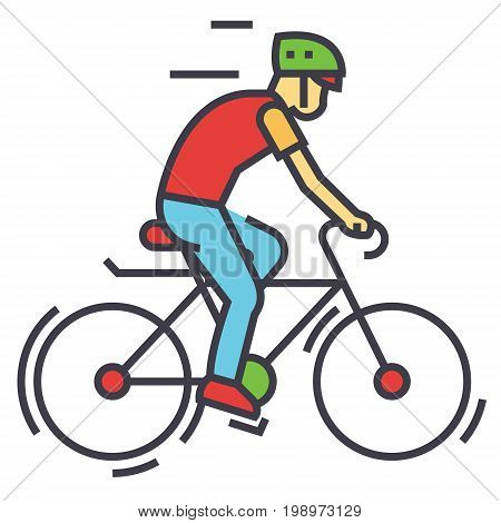 Cyclists, sport bikes, bicycling, bycicle man, cycling competition, race concept. Line vector icon. Editable stroke. Flat linear illustration isolated on white background