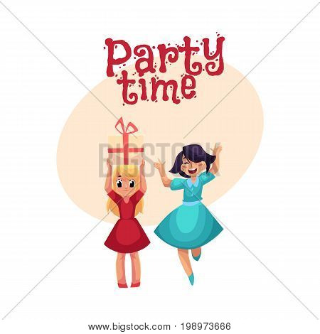 Two girls at birthday party, one dancing, jumping excitedly, another holding big gift, cartoon style invitation, banner, poster, greeting card design. Party invitation, advertisement, Happy girls