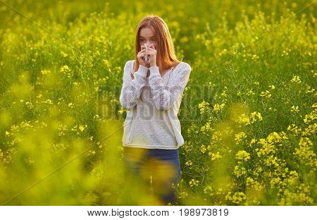 Pollen Allergy, Girl Sneezing