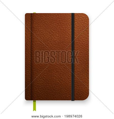 Realistic leather brown notebook with black elastic band. Vector notepad mockup. Top view diary vintage template. Closed diary with green bookmark. poster