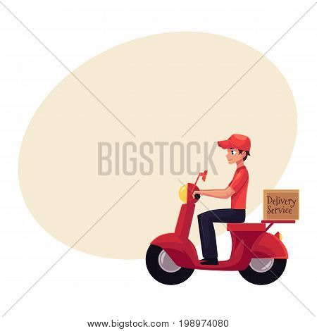Courier, delivery service worker riding scooter, motorcycle loaded with boxes, cartoon vector illustration with space for text. Young courier delivering packages by driving motorbike, scooter