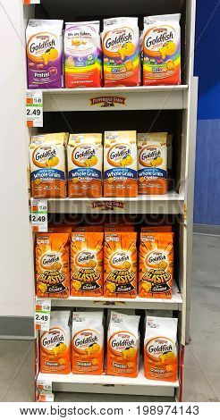 New York August 7 2017: Multi-shelf stand with various Goldfish packages in a Duane Reade store in Manhattan.