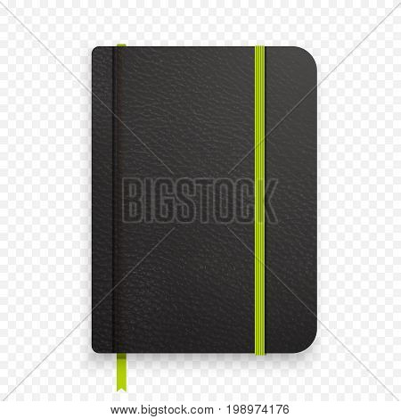 Realistic black notebook with green elastic band. Top view diary template. Vector notepad mockup. Closed diary with green bookmark on transparent background.