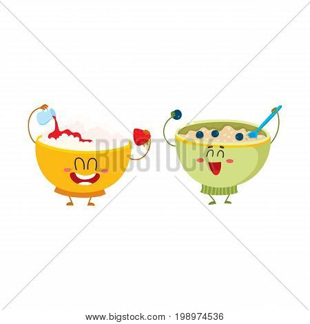 Two funny bowl characters - cottage cheese and oatmeal porridge, breakfast options, cartoon vector illustration isolated on white background. Cute and funny cottage cheese and oatmeal bowl characters