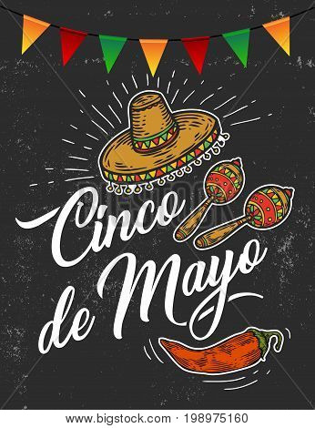 Cinco de Mayo hand sketched logotype, badge typography icon. Lettering Mexican holiday with hat, flag, maracas for greeting card, invitation template. Retro lettering banner poster template background