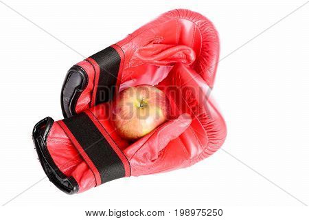 Boxing Gloves With Apple Isolated On White Background