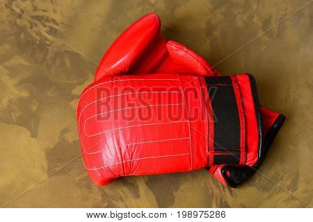 Pair Of Leather Boxing Sportswear. Boxing Gloves In Red Color