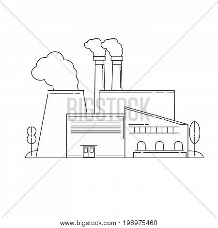 Vector linear an icon with the plant Industrial factory in flat style.Plant or Factory Building.Manufacturing factory building. industrial building concept.Eco style factory.City landscape