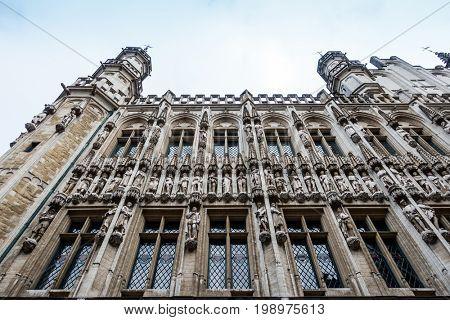 Street view of Buildings around city in brussel, Belgium.
