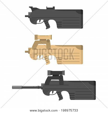 Firearms a vector in flat style. Automatic rifle, machine gun.Assault rifle.collection of weapons on a white background.Weapon concept for your design