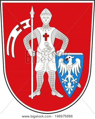 Coat of arms of Bamberg is a town in Upper Franconia Germany. Vector illustration from the