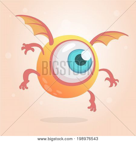 Cute bright monster or alien with one eye. Cartoon funny doodle flying cyclop smiling.Yellow vector illustration isolated on white background. Halloween characrer