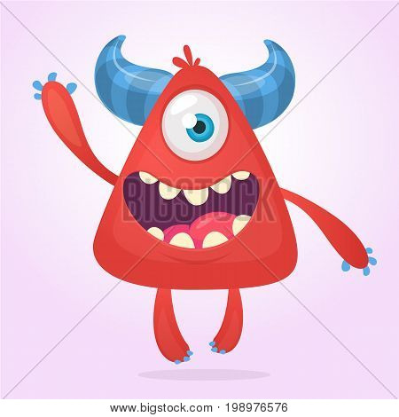 Cool cartoon red monster. Vector horned one eye cyclop monster screaming and presenting.