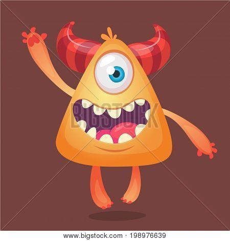 Cartoon monster. Orange horned monster with one eye smiling for Halloween. Vector illlustration. Design for emblem print or sticker decoration