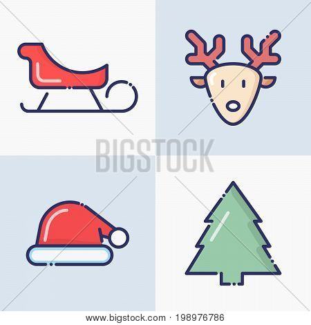 Symbols of Christmas and New Year celebration: thin line icons of deer, sled, Santa Claus hat, fir-tree for web page, banner, invitation, greeting card, print media. Vector illustration.