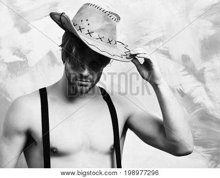 Caucasian Bearded Sexy Macho Man In Cowboy Hat