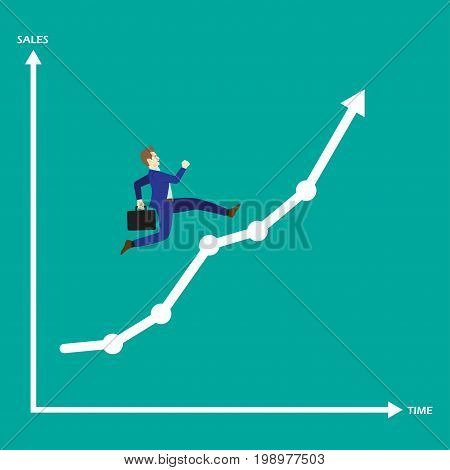 Business Concept As A Businessman Is Running On Growth Line Graph. He Is Enjoying The New Growth Of Opportunity With Full Motivation & Encouragement. Higher Sales Corresponds With Time Passes By.